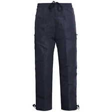 Mens Thermal Fleece Lined Combat Cargo Pants Elasticated Bottoms Trousers Navy M