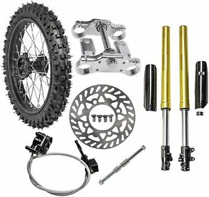 "17"" Front 70/100-17 Wheel Tire Rim + Front Forks Set for Dirt Pit Bike Apollo125"