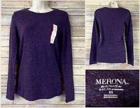 Merona Target Sz XS Long Sleeve Ultimate Tee Womens Shirt Dark Purple Pima Modal