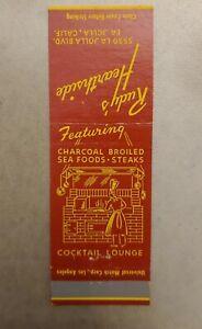 Vintage Rudy's Hearthside Restaurant Matchbook La Jolla California CA Cocktails