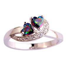 Rainbow Topaz Silver Plated Double Heart Heart Cubic Zirconia Ring Various Sizes