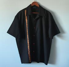Budweiser Bowling Shirt Black Fire Brocade Embroidery & Buttons Mens Size XL
