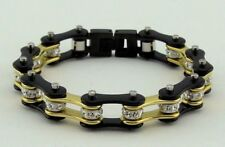Women Stainless Steel W Crystals Motorcycle Bike Chain Bracelet Gold-Black