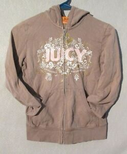 W5151 Juicy Couture Junior Girls Tan/Pink Small Long Sleeve Zip Up Hoodie