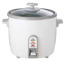 Rice Cooker 6-Cup with Steaming Tray White Stainless Steel Family Size Meal Home
