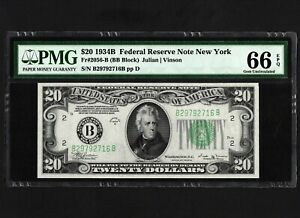1934-B $20 Federal Reserve Note PMG 66 EPQ Uncirculated Currency Banknote.
