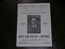 More details for 1950/51  west ham united v arsenal  charles paynter testimonial  18/09/1950