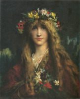 """high quality oil painting handpainted on canvas """"a girl with flowers"""""""