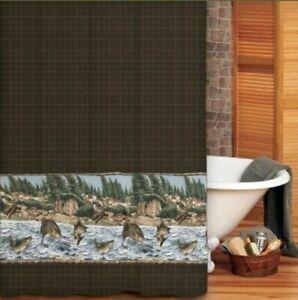 "Blue Ridge Trading River Fish Fabric Shower Curtain 72"" x 72"" Plaid Bass Trout"