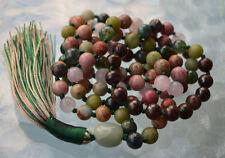 Heart Chakra Rose Quartz Bronzite Serpentine Moss Agate Rhodonite 108 Mala Beads