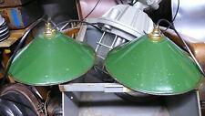 2 Lampes Abat jour Industriel Suspension Métal Tôle émaillée 1950 Atelier Usine
