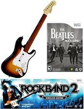 NEW Nintendo Wii Rock Band 2 Wireless Sunburst Guitar & Beatles RockBand RARE