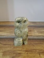 VINTAGE RARE COLLECTIBLE HAND CARVED MARBLE OWL SCULPTURE BY KENT A. QUESNELL