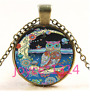 Vintage Owl on Moon Cabochon bronze Glass Chain Pendant Necklace TS-4439
