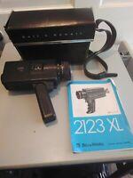 VINTAGE BELL & HOWELL 2123XL SUPER 8 HANDHELD MOVIE CAMERA leather shoulder case