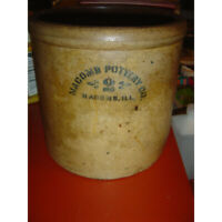 Antique Macomb Pottery Co. - #2 Crock - Macomb, Illinois USA