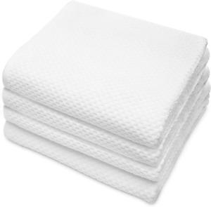 COTTON CRAFT- Euro Spa Set of 4 Luxury Waffle Weave Bath Towels, Oversized Pure