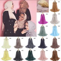 Cotton Blend Viscose Maxi Crinkle Hijab Scarf Soft Muslim 15 colors 95X180CM