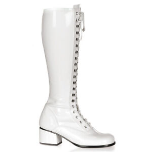 "*Funtasma 2"" Block Heel Shiny White Stretch Lace up GoGo Knee Boots Retro 6"