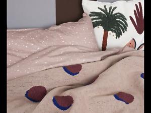 Ferm Living Double Dot Blanket Pink, Burgandy & Blue  BNWT RRP £97