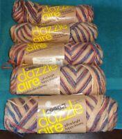 Lot of 5-Vintage Caron Dazzle Aire Variegated Yarn-Cedartones-4 Same/1 Different