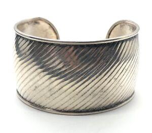 "Vintage Sterling Silver Bracelet 925 6.5"" Cuff Twisted Striped"
