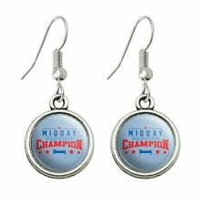 Novelty Dangling Drop Charm Earrings Midday Napping Champion Funny Humor