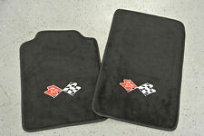 1997-04 Chevrolet Corvette C5 2 Piece Floor Mats Set Crossed Flags Embroidery