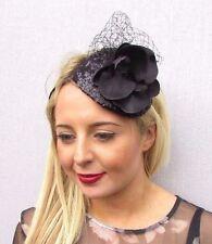 Black Orchid Flower Fascinator Wedding Races Funeral Net Headband Teardrop 3521