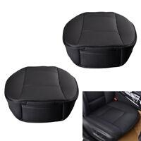 2Pcs PU Leather Breathable Durable Car Sedan Black Front Seat Seat Cover Cushion