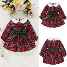 Baby M/ädchen Kleider Schleife Karierte Freizeitkleider Kleinkind Kinder Langarm R/üschen A-Linie Plissee Einteiler Kleid