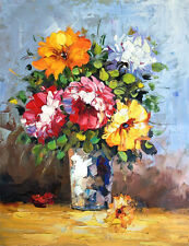Vase of Flowers - Signed Hand Painted Flower Oil Painting On Canvas 16x20""