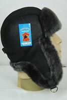 BLACK 100% Sheepskin Shearling Leather Russian Ushanka Trapper Trooper Hat M-3XL