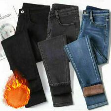 UK Womens Warm Fleece Lined Stretch Denim Jeans Thermal Winter Leggings Jeggings