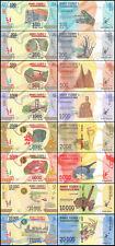Madagascar 100 to 20,000 (20000) Ariary 8 Pieces (PCS) Full Set, 2017, UNC