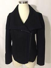 NEW Ann Taylor Black Deep Navy Moto Side Zip Coat 6 Wool Blend