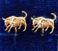 VINTAGE TAURUS EARRINGS BULL CLIP BACK GOLD TONE METAL ASTROLOGY JEWELRY NOS
