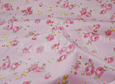 Pink Medium Floral Rose Cotton Bed Sheeting Homeware Craft Shabby Chic Fabric