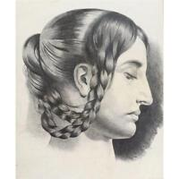Fine Antique French Master Drawing of Woman in Braids 1843