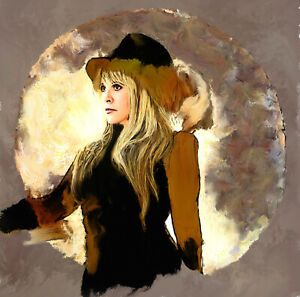 Stevie Nicks Original Painting portrait in acrylic on canvas by Brian Tones