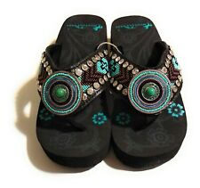 Montana West Black Hand Beaded Aztec Flip Flop Wedge Sandals 6,7,8,9,10,11