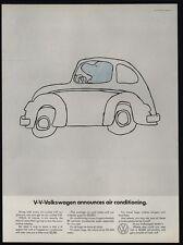1968 VOLKSWAGEN BEETLE Cartoon - VW Announces Air Conditioning - VINTAGE AD