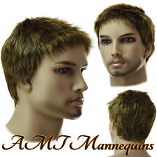 Golded blonde male wig, fullsize adjustable cosplay synthetic wig-12GB
