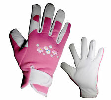 LADIES LEATHER GARDENING GLOVES; Thorn Proof & Safe for Pruning in Garden, S/M/L
