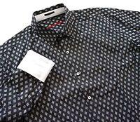 Nwt Visconti Black Black Diamond Woven Textured Contrast Cuffs Sport Shirt S M