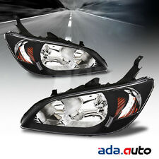 2004 2005 Honda Civic Sedan/Coupe Black Replacement Headlights Head Lamps Pair