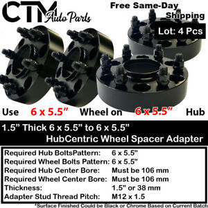 "4PC 1.5"" THICK 6X5.5"" 106 HUBCENTRIC WHEEL ADAPTER SPACER FIT TOYOTA 6 LUG MODEL"