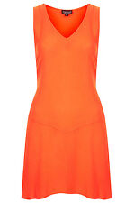 BNWT TOPSHOP ORANGE COTTON V FRONT CHUCK ON DRESS SIZE 6