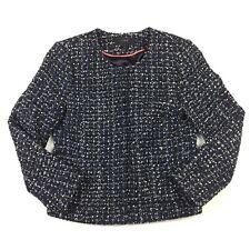 J. Crew Size 0 XS Navy Blue White Tweed Jacket Lined Career Crop Jackie O Style