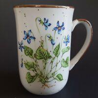 Vintage Stoneware Violets Number 102 Coffee Mug Japan Floral Brown Speckle 8 oz